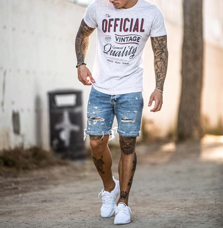 Print tshirt  distressed #denim shorts and sneakers  by @johnnyedlind [ http://ift.tt/1f8LY65 ]
