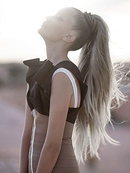 Long hair! That pony tail really looks like a ponies tale. It's so thick and beautiful. Love it.