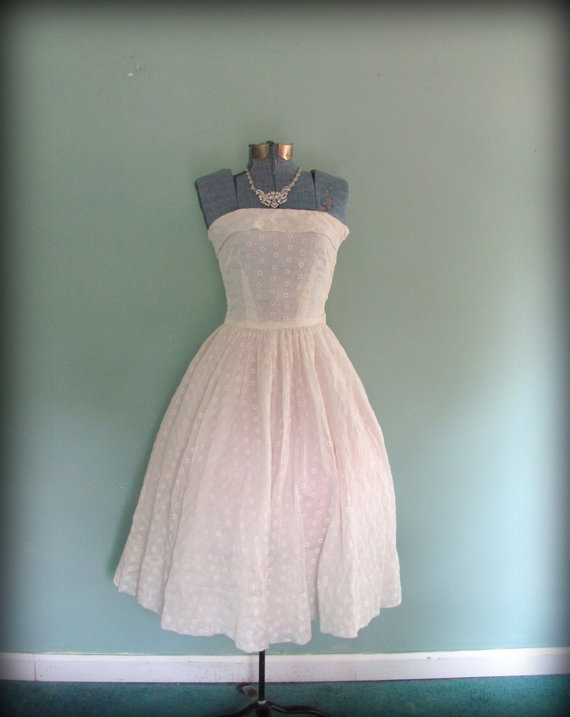 1950s Vintage White Eyelet Tealength Wedding by offbeatvintage, $268.00