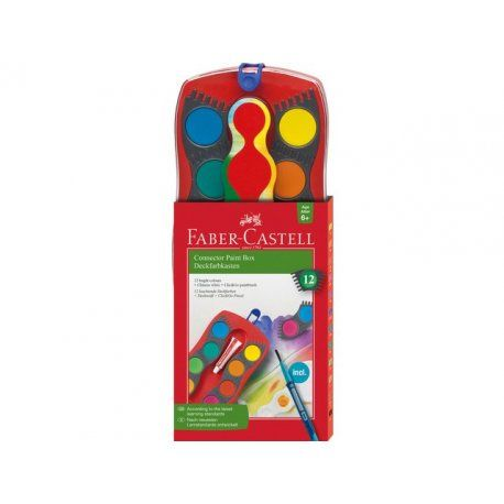 Verfdoos Connector in innovatief en aantrekkelijke vorm. Uitstekende opaciteit, snelle kleur absorptie en gemakkelijk te mengen, evenals rijke en levendige kleuren. De tabletten zijn koppelbaar. Doos met 12 kleuren, inclusief penseel.