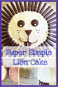 A really simple and easy to make lion cake for kids.