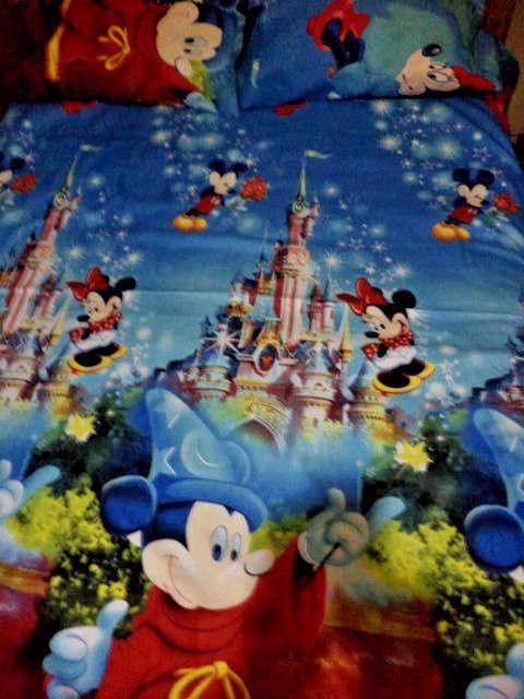 100% Egyptian cotton bedding deep pocket 3pcs set sheet full mickey SALE 15%  #Handmade