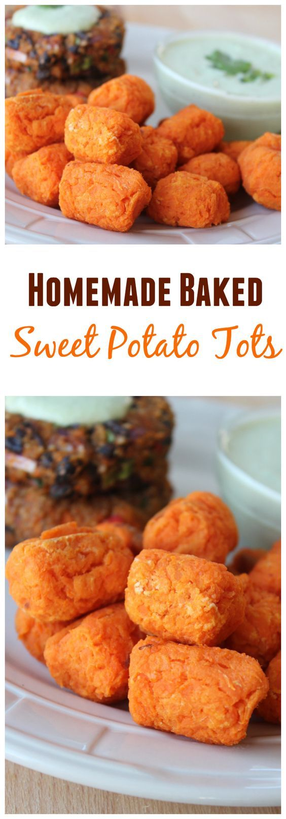 Ditch the bag of frozen tater tots for these Homemade Baked Sweet Potato Tots - they're healthy, gluten-free, vegan & made with only 3 ingredients!