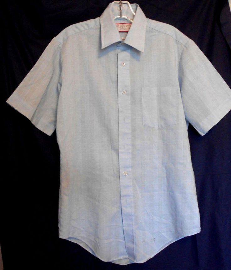 Sears Light Blue Dress Shirt Size 15 Short Sleeve Polyester Blend #Sears