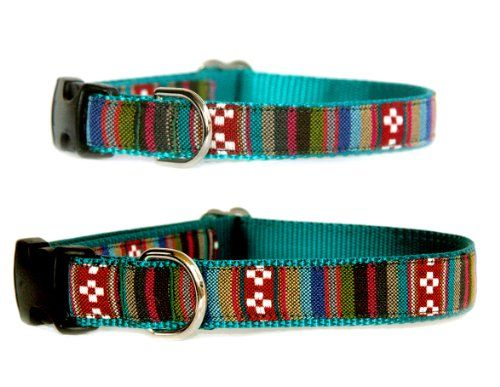 Southwestern topaz stripe dog collar  Tribal Navajo Native American Mexican inspired jaqcuard fabric on durable nylon designer unique pet collar Small dog collar to large dog collar in size XS S M L or XL Hand made in the USA >>> You can get more details by clicking on the image.(This is an Amazon affiliate link and I receive a commission for the sales)