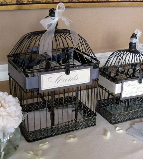 """For the Wedding Decorative birdcages at discount prices.    2 Antique Style Decorative Bird Cages Wedding Card Holders 17"""" and 13"""" (2 cages) $24     They look great if you spray paint them solid black."""