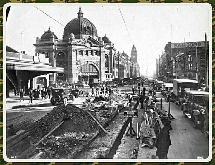 Tramway construction at corner of Flinders and Swanston Streets,Melbourne,Victoria in the 1920s.
