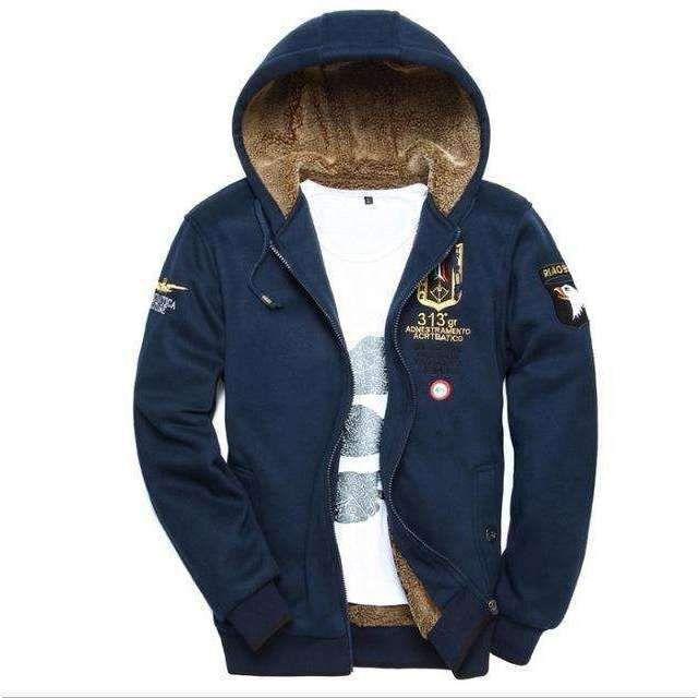 Wool warm winter coat with hoodie M-3XL