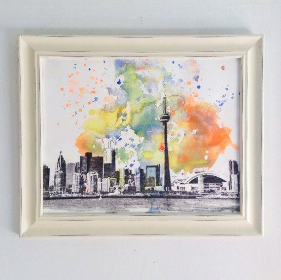 Toronto Cityscape Skyline Landscape Watercolor Painting Original by idillard