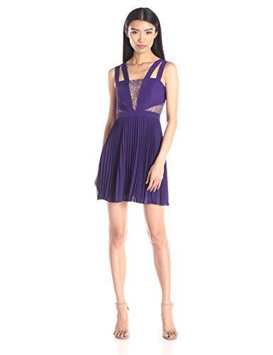 BCBGMax Azria Women's Tenzin Pleated Cocktail Dress With Lace Insets, Plum Berry, 6 #cocktaildress