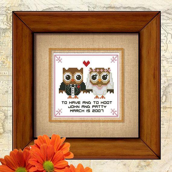 Hootie amore matrimonio voto Cross Stitch Pattern PDF grafico