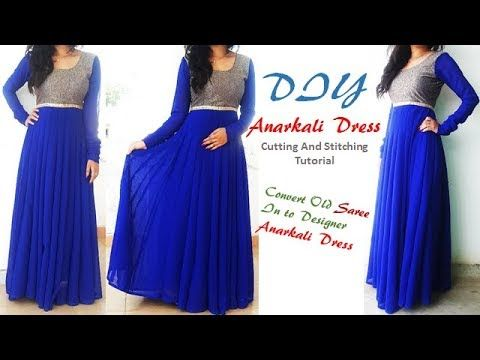 04b9f087 DIY Anarkali Dress Cutting And Stitching Tutorial,Convert Saree into  Anarkali Dress\Kurti - YouTube