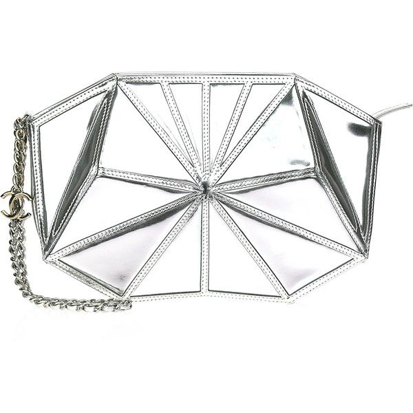 Pre-owned Chanel Metallic Silver Patent Midnight Swim Wristlet Clutch... ($1,500) ❤ liked on Polyvore featuring bags, handbags, clutches, chanel purse, white wristlet, white patent handbag, white patent leather handbag and wristlet clutches