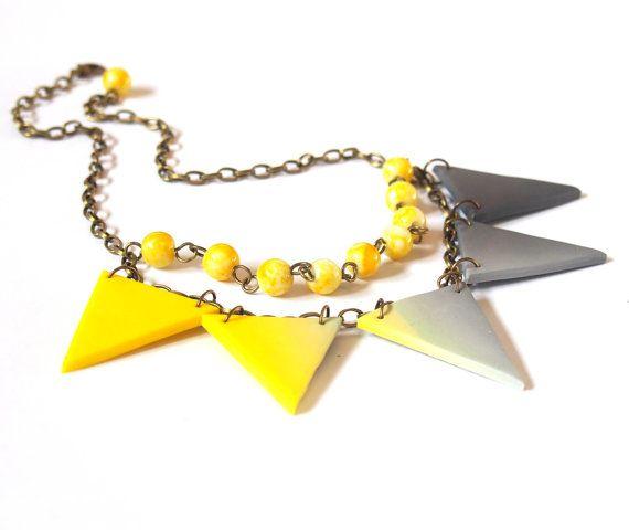 Triangle Necklace ( ombre necklace geometric necklace modern necklace triangle jewelry polymer clay jewelry mint necklace minimalist )