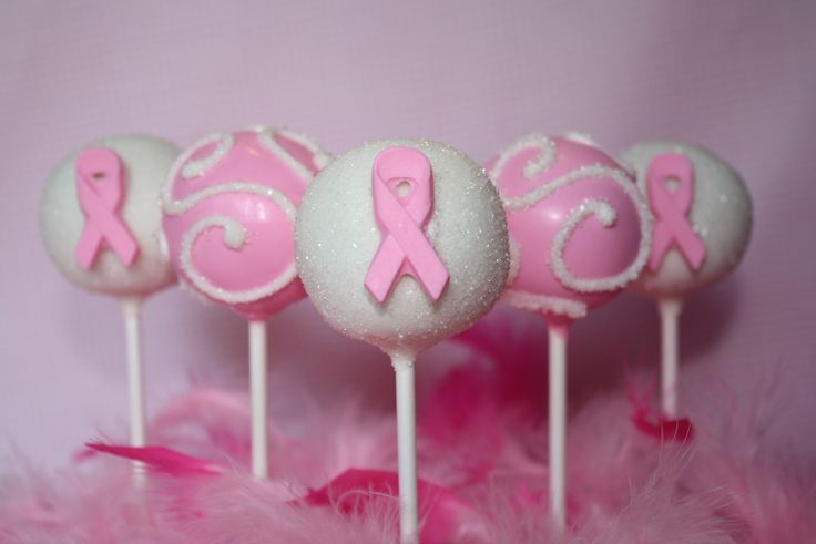 Breast Cancer Awareness Ribbon Cake Pops