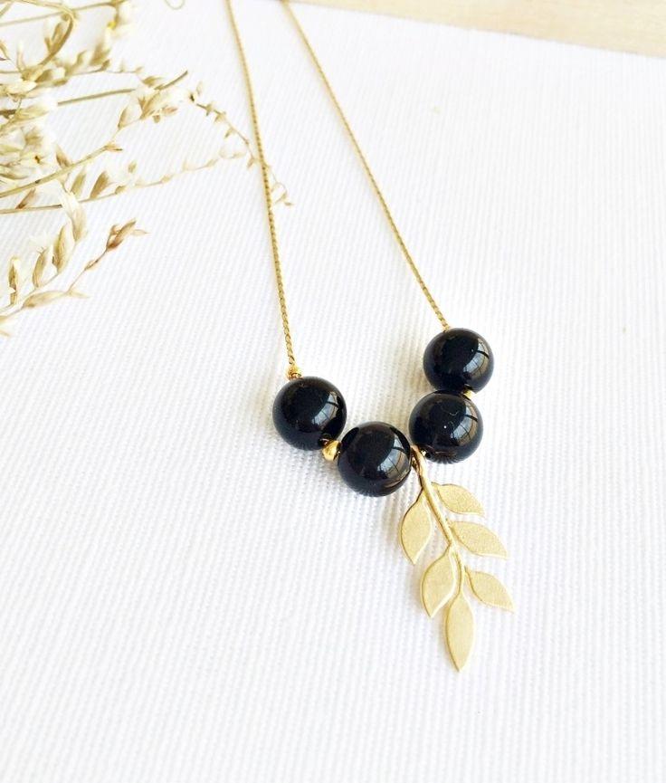Lyoch #leaf #branch #onix #pendant #necklace #jewelry #handmade #fall #autumn