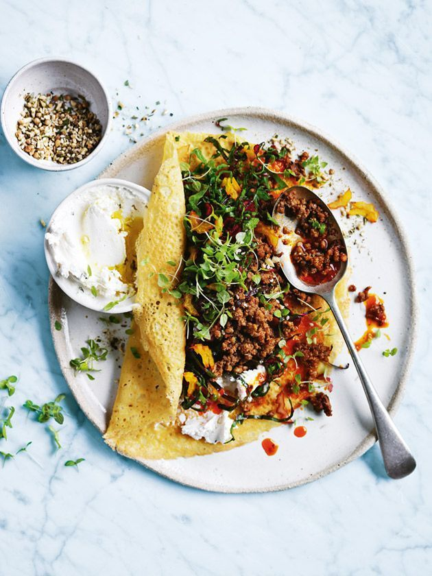 chickpea pancakes with rainbow chard and spicy lamb from donna hay magazine…