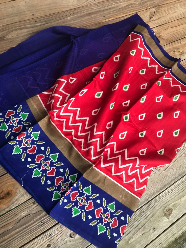 Art Silk Printed Pochampally Saree in Red and Blue