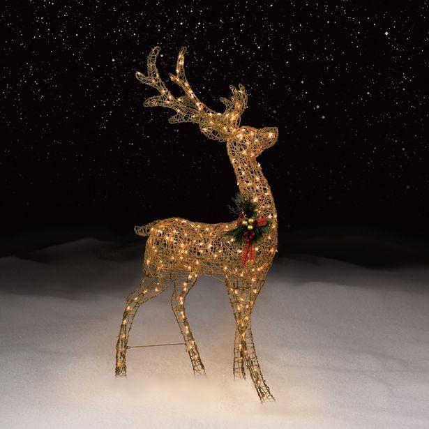 The 25 best outdoor christmas reindeer ideas on pinterest diy 5 foot lighted gold glitter antler reindeer outdoor christmas display metal mesh mozeypictures Images