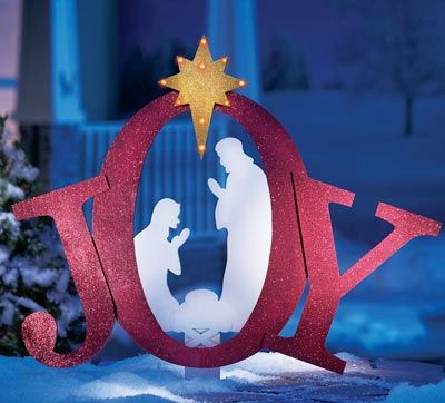 silhouette nativity scene pattern | Outdoor Lighted Joy Nativity from Collections Etc.