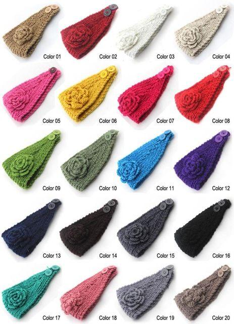2015 Nuevo 10 unids/lote Clásica mujeres de la Flor de Punto de Headwrap Tejer lana calentadores del oído de la venda del ganchillo para Las Niñas Adolescentes Mujeres