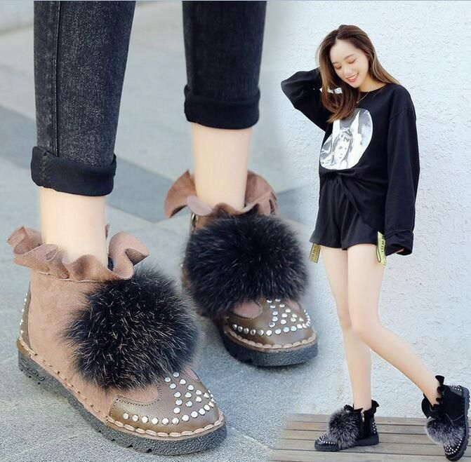 Winter Womens Round Toe Zippers Faux Fur Ankle Boots Flat Retro Casual Shoesh872