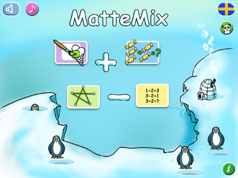 MatteMix är en mycket användbar app för alla som vill lära sig addition och subtraktion på tidig nivå. Här kan man träna inom talområdet 1-99. Det finns 4 olika övningstyper i appen.