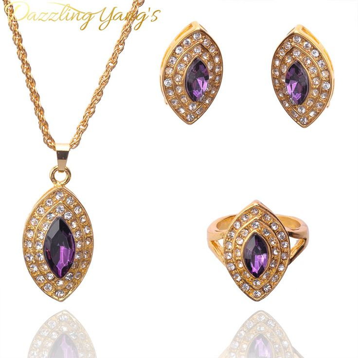 DAZZLING YANG'S Fashion Jewelry Gold Plated Chic Oval Pendant Crystal Necklace Earring Ring Wedding Jewelry Sets For Women