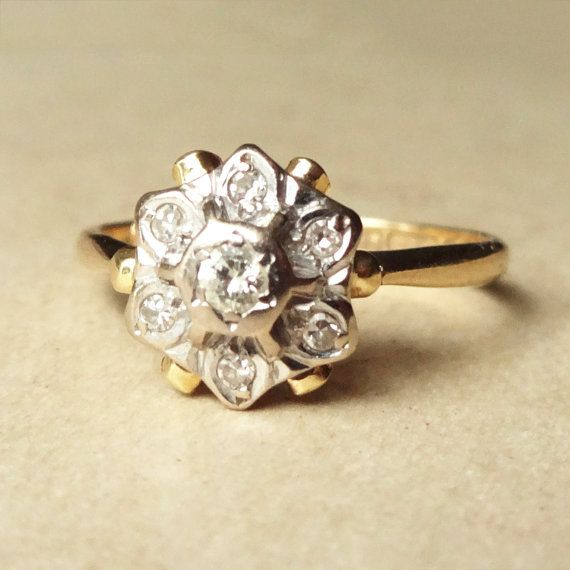 Vintage Art Deco Diamond Flower Ring, 1950's Diamond and 18k Gold Engagement Ring Approx. Size US 6