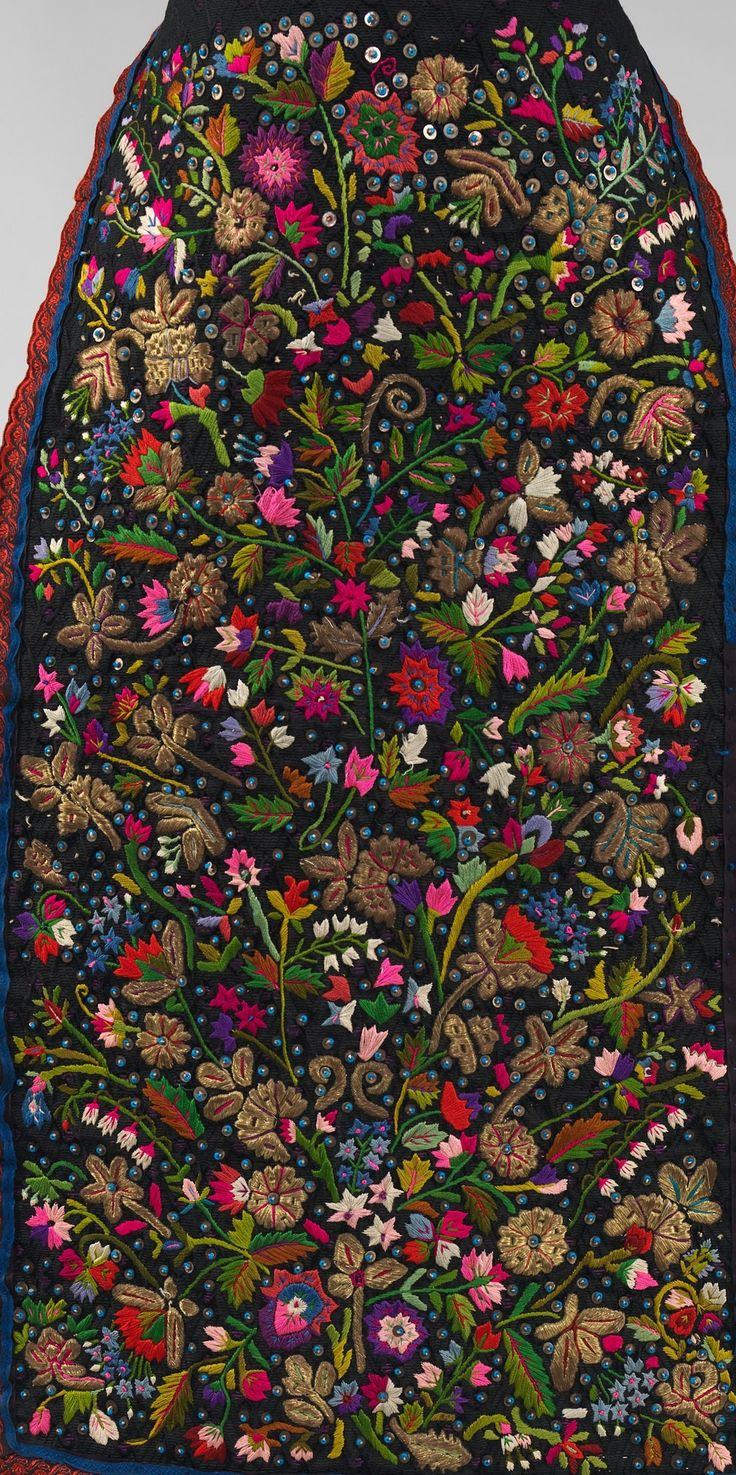 Apron Date: fourth quarter 19th century Culture: Hungarian Medium: silk, metal, linen, glass