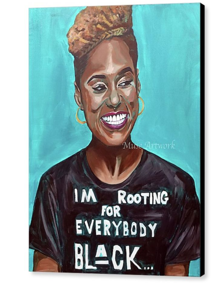 "Issa Rae ""Everybody Black"" Madam Muse Painting ***ORIGINAL ARTWORK WILL SHIP WITH CERT. OF AUTHENTICITY. ORIGINAL ARTWORK IS ACRYLIC ON 30x40 CANVAS. HAND SIGNED BY ARTIST. PRICING INCLUDES SHIPPING + TAXARTIST RETAINS FULL COPYRIGHT OF..."