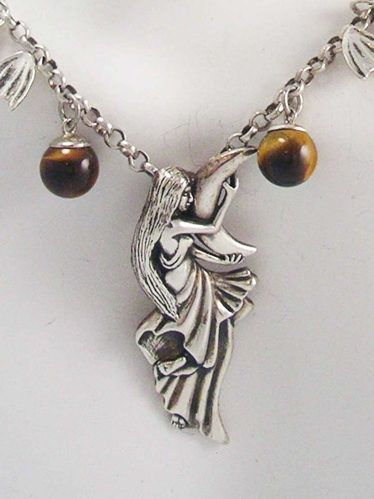 RARE! Designer Signed Sterling Silver 925 MOON MAIDEN BATS & TIGERS EYE Necklace #PSCL #Chain