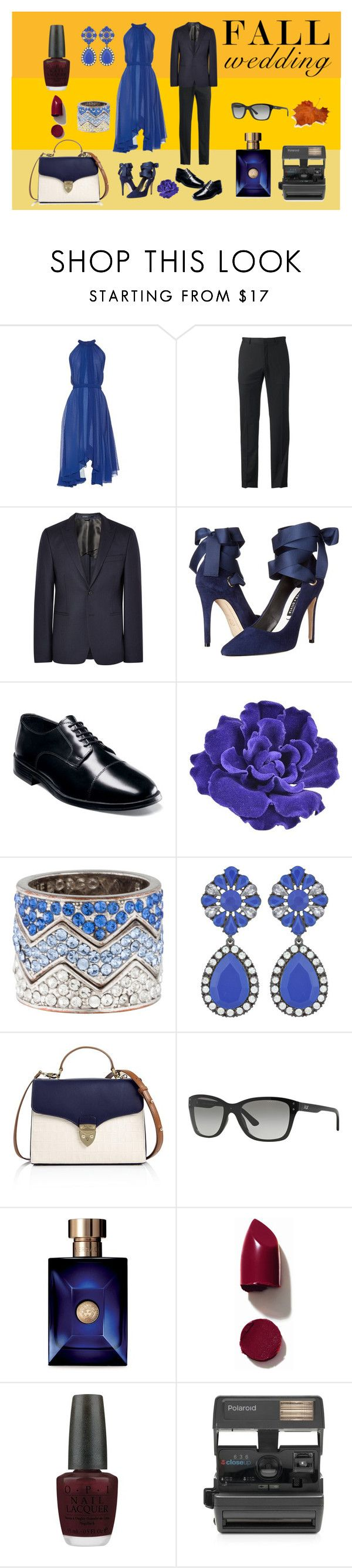 """""""Fall Wedding"""" by mstrendy01 ❤ liked on Polyvore featuring Saloni, Marc Anthony, Acne Studios, Alice + Olivia, Nunn Bush, Chanel, Eddie Borgo, Aspinal of London, Armani Exchange and Versace"""