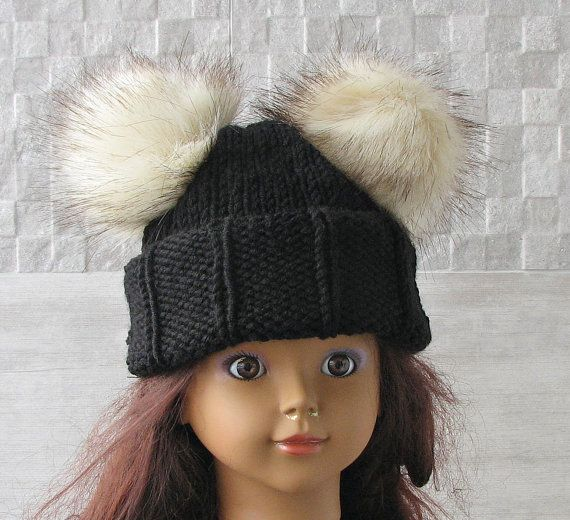 Childrens knit hat with fur pom pom Black Fur Pom by DamovFashion