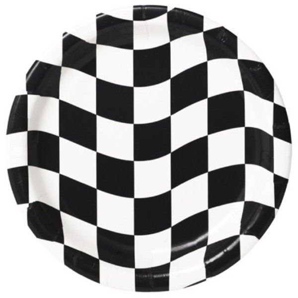 Black And White Check Checkered Racing Plates Black White - 8 Pack