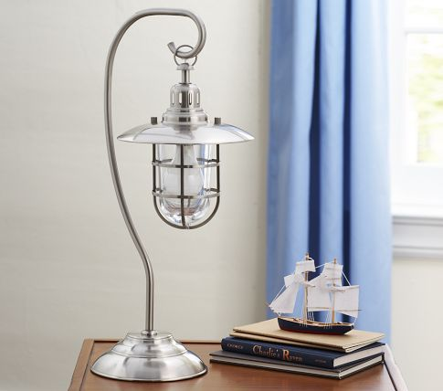 Fisherman's table lamp; evocative, and not just for boys (despite what Pottery Barn says)