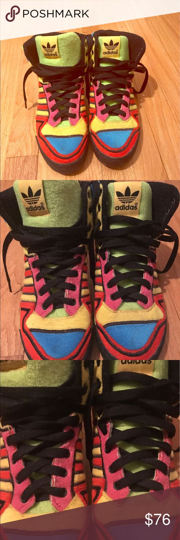 Adidas Jermey Scott Multicolored High Tops The shoes are missing the original wings. Fabric is great Condition. Please contact me with questions Jeremy Scott x Adidas Shoes Sneakers