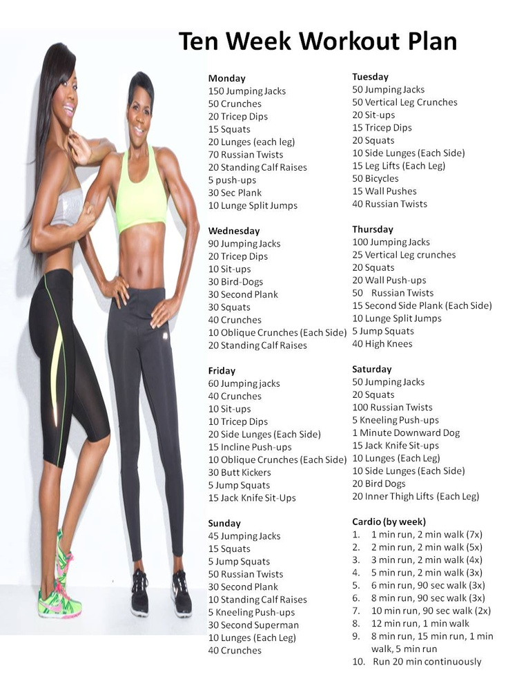 Ten week workout plan | Diet and Exercise | Pinterest ...