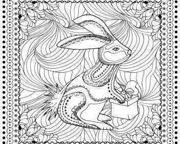 målarbild, målarbilder, gratis, gratis målarbild, barn, målarbild för barn, målarbilder för barn, färglägga, zentangle, mandala, fylla i, fylla-i-bild, kanin, hare, paket, present, gåva, slå in paket, djur, djurbilder, djurmotiv, fabel, talande djur