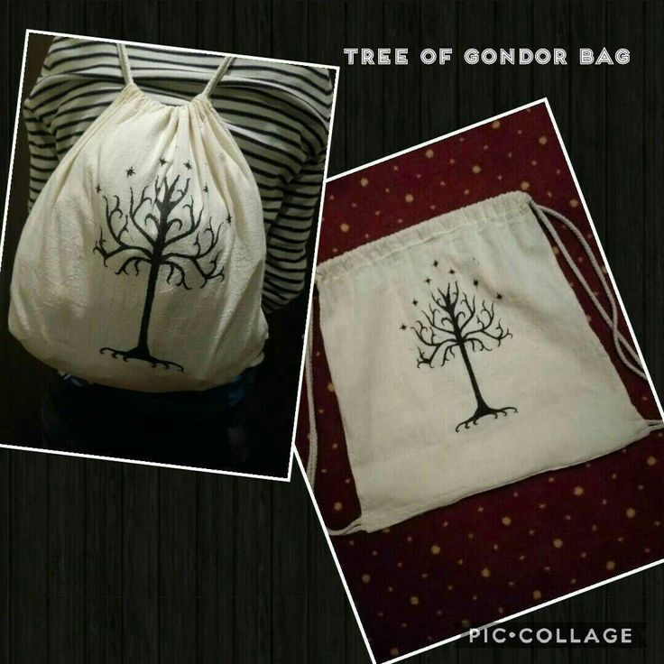 DIY Tree of Gondor from lord of the rings white Bag #DIY #bag #gift