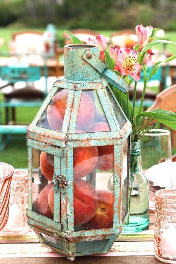 vintage mint lantern with peaches wedding centerpiece - Deer Pearl Flowers