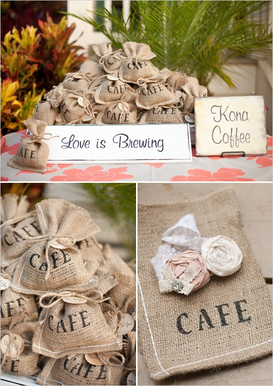 Used burlap bag for wedding favors. Took large bag, cut, sewed, and stenciled cafe on it!