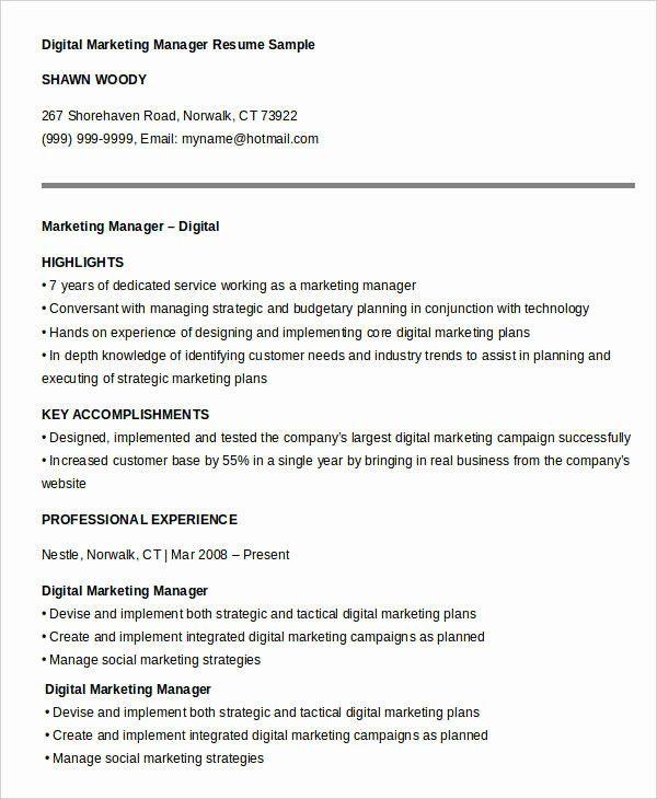 Digital Marketing Manager Resume Awesome 40 Free Manager Resume Templates Pdf Doc Marketing Resume Project Manager Resume Digital Marketing Manager