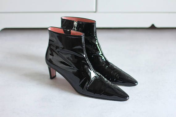 Black Leather Vintage Women Shoes Bootcoats Size EU 37 Made in