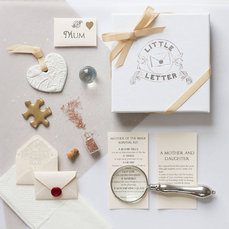 Our personalised mini mother of the bride survival kit is a touching keepsake gift to offer thanks and bring your mum to tears.Please enter your own personal sign off for the letter, e.g. Mum, thank you for everything, love Victoria xxxxYour gift includes a collection of tiny items, all of which have a special sentiment attached to them, details of which can be seen in the images. All items in your kit are beautifully wrapped with tissue paper and presented in a Little Letter gift box, tied…