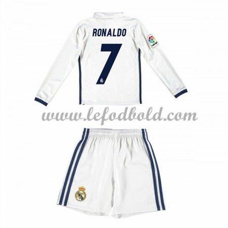 Billige Fodboldsæt Real Madrid Børn 2016-17 Ronaldo 7 Langærmet Hjemmebanesæt