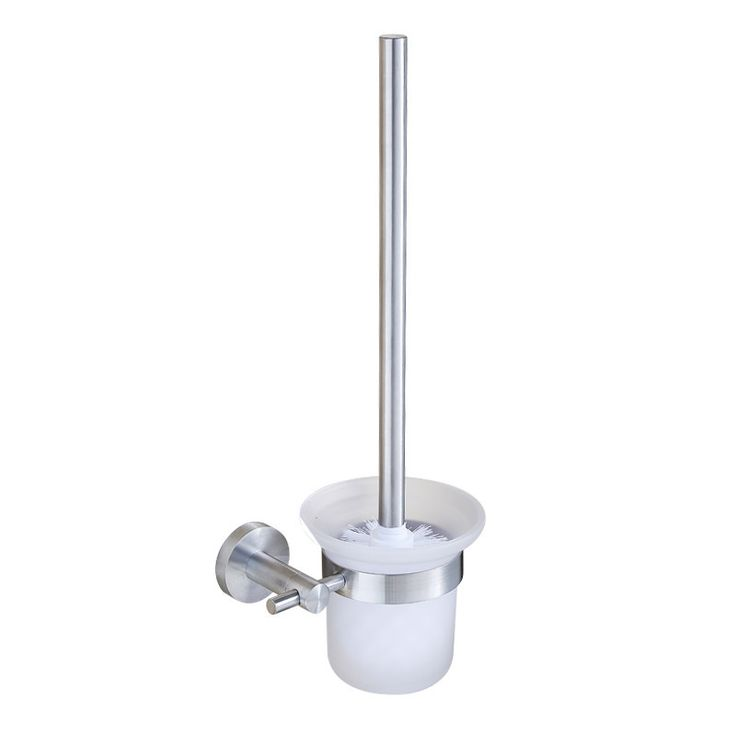 BLH 813 V Type Toilet Brush Set Brushed Nickel Toilet Brush and Holder Frosted Glass Cup Hotel Style WC Borstel - ICON2 Luxury Designer Fixures  BLH #813 #V #Type #Toilet #Brush #Set #Brushed #Nickel #Toilet #Brush #and #Holder #Frosted #Glass #Cup #Hotel #Style #WC #Borstel