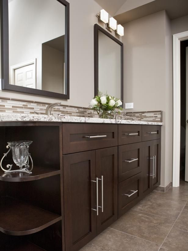 9 Bathroom Vanity Ideas : Bathroom Remodeling : HGTV Remodels Dark Cabinets  W/ Light Floors, Paint, Trim