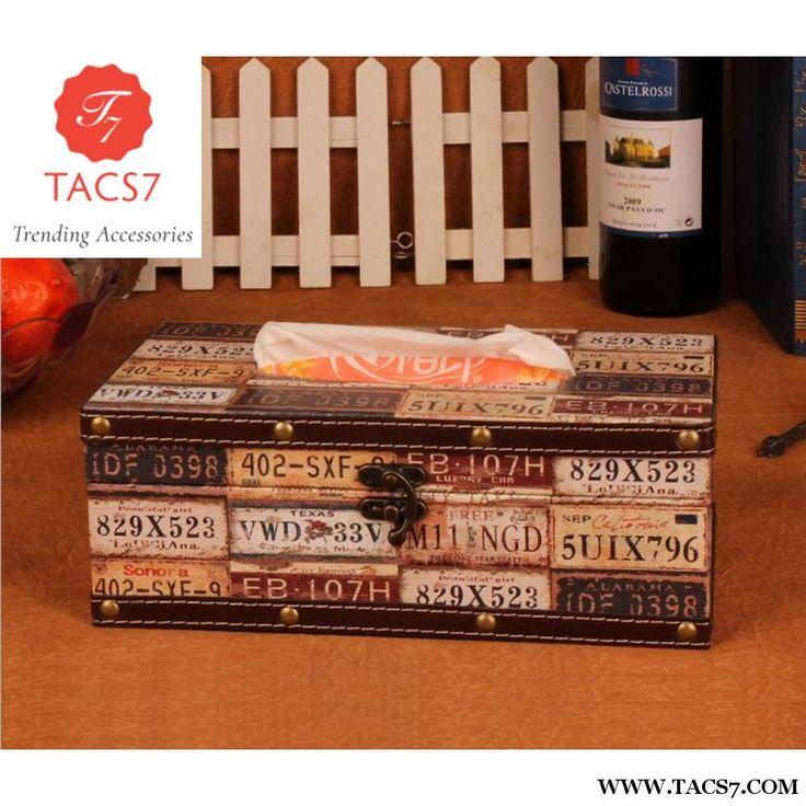 Tissue Box Rectangular Retro Wooden Paper Cover Case Vehicle License Plate Number Napkin Holder Home Decor