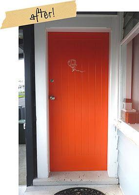 Amazing tangerine orange front door